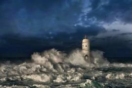 lighthouse amidst stormy sea