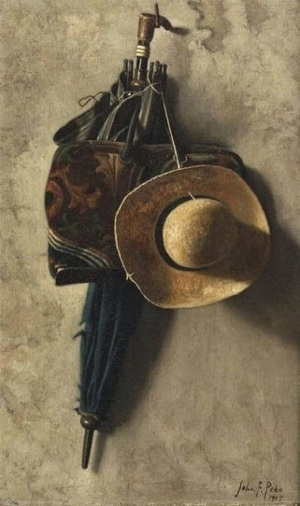 "John Frederick Peto - ""Still Life with a Hat, an Umbrella, and a Bag"""